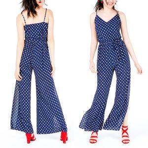 One Clothing Navy Polka Dot Slit-Leg Jumpsuit